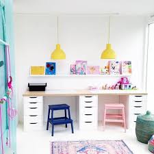 kids office ideas. i love everything about your shared kids playroomdesk space the painted stools are awesome happy yellow lights fun baskets cool office ideas o