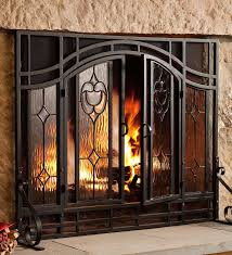 fireplace glass fireplace screen rustic glass screen how to build indoor and