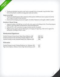 Experience Nurse Resume Certified Nursing Assistant Experienced