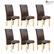 dining chairs brown. 1home 6 X Leather Brown Dining Chair W Oak Finish Wood Legs Roll Top High Back: Amazon.co.uk: Kitchen \u0026 Home Chairs R