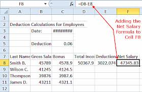 salary range calculator excel ecourse step 7 adding the net salary formula