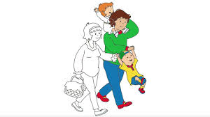 Caillou Coloring Page 3 Caillou And His Family Are Going To Picnic