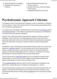 Psychodynamic Approach Psychodynamic Approach Assumptions Pdf