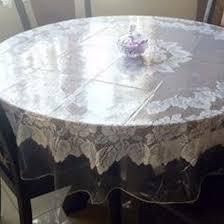 6 of 12 clear vinyl tablecloth durable plastic table cover spills protector 70 round
