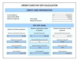 Calculator Credit Card Payment Debt Payoff Calculator Excel Credit Card Pay Off Templates