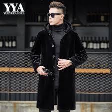 new fashion male winter clothing mens faux fur coat leather jacket medium long hooded overcoat men
