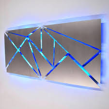 wall arts blue metal wall art fracture lighted sculpture with led color changing uk blue metal