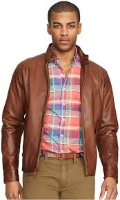 brown leather er jackets polo ralph lauren leather barracuda jacket