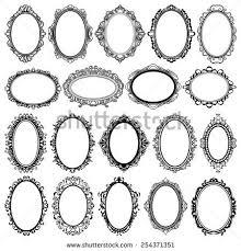 vintage frame design oval. Set Of Black Oval Vintage Frames, Design Elements Frame A