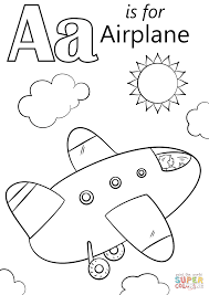 letter a color page is for airplane coloring