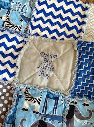 Dream Big Little Boy Embroidered Baby Rag Quilt Homemade Baby Boy ... & Dream Big Little Boy Embroidered Baby Rag Quilt Homemade Baby Boy Quilt  Blue Grey Chevron Dots Adamdwight.com