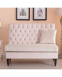 Belleze Beige Modern Loveseat Bench Sofa Tufted Settee HighBack Love Seat  Bedroom Velvet High Back Loveseat99