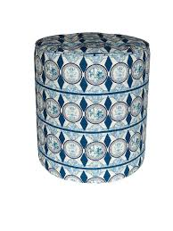 Aye blue Contemporary African <b>print pouffe</b> in vibrant blue African ...
