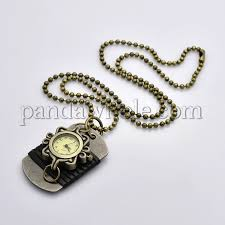 vintage antique bronze alloy quartz watch necklaces brass ball chain pocket watches with leather wrapped rectangle pendants 26 1 3mm