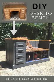 You can turn an old desk into a functional #DIY bench for a mudroom or