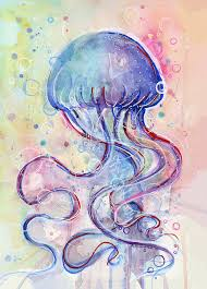 fish painting jelly fish watercolor by olga shvartsur