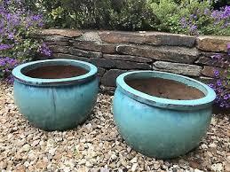 garden glazed ceramic plant pots green