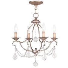 livex chesterfield mini chandelier in hand painted antique silver leaf