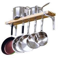 wooden wall mounted pot rack