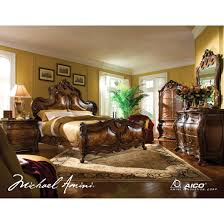 piece emmaline upholstered panel bedroom: aico palais royale pc king panel bedroom set in rococo cognac finish