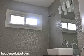 gray penny tile bathroom walls ...