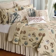 bedroom cream coral seashells starfish beach bedding set and