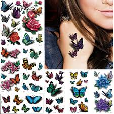 8 Pieces Colorful Butterfly Flower Style 3d Temporary Tattoo Sticker