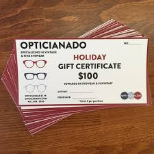 Holiday Gift Certificates Holiday Gift Certificates Available Opticianado
