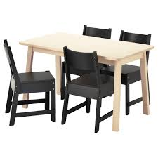 table 4 chairs. norrÅker / table and 4 chairs, white birch, black length: 49 1 chairs n