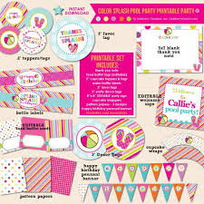 Printable birthday invitations (envelopes included). Color Splash Pool Party Birthday Diy Printable Party Pack Inkberry Creative Inc