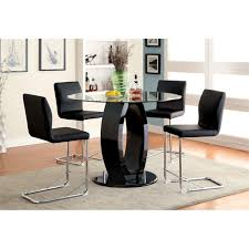furniture of america hugo counter height round dining table in black