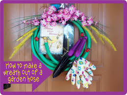 i needed a spring wreath for my door and had seen a wreath made out of a garden hose i thought that would be a fun idea to do for my door