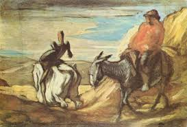 sancho panza and don quixote in the mountains honore daumier