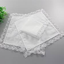 1 4pcs lace border white cotton pocket square handkerchief wedding hanky gift