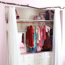 diy closet curtain rod rustic and girly the summery umbrella