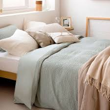 faded cotton waffle knit duvet cover
