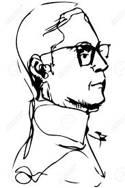黒と白のベクトル クリップアート成人男性とプロファイルのメガネします