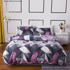 purple abstract geometry duvet cover
