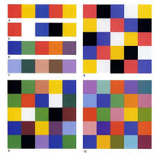 Orange, green and violet are weaker in character than yellow, red and blue,  and the effect of tertiary colors is still less distinct.