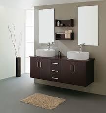 Bathroom:Dashing Espresso Bathroom Sink Cabinets Feats With Mini Brown  Fluffy Rug On Plain Grey