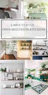 collage of kitchen shelves styled diffely