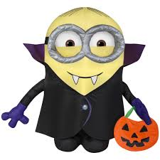 pre lit inflatable gone batty minion with treat sack airn