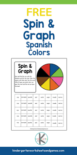 Learn basic or advanced colors! Free Spin And Graph Spanish Color Words
