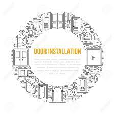 Doors Installation Signs Repair Banner Illustration Vector