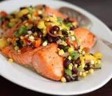 black bean and salsa salmon