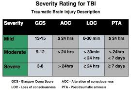 Concussion Grade Chart Concussion Bulkley Valley Brain Injury Association