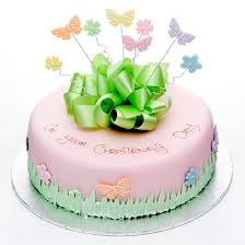 Colourful Butterflies Cake Pink Round