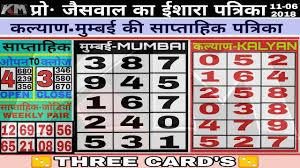 Mumbai Patti Chart 16 06 2018 Kalyan Mumbai 3 Patti Saaptahik Chart Dekho Fir
