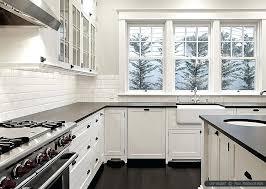 black granite white subway tile and countertops kitchen cabinets ideas