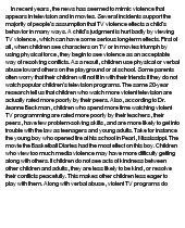 tv violence essay tv violence